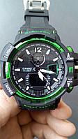Электронные наручные часы Casio G-Shock GW A1100 Black Green, спортивные часы Джи Шок(черно-зеленые)