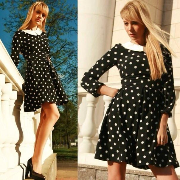 712bd4fa1f7 Черное платье в белый горошек с контрастным воротничком  продажа ...