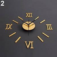Часы интерьерные настенные с римскими цифрами (диаметр 0,35 - 0,5 м) золотые [Пластик]