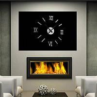 Часы интерьерные настенные с римскими цифрами (диаметр 0,35 - 0,5 м) серебристые [Пластик]