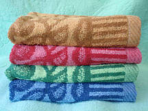 Банное махровое полотенце Ветка рябая в ассортименте 10 шт в уп. Размер 1.4х70 Хлопок