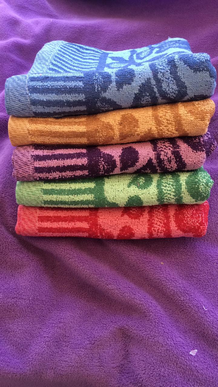 От 10 шт.Лицевое махровое полотенце Ветка рябая в ассортименте. Размер 0,9х0,5 - хлопок оптом - От 10 шт.