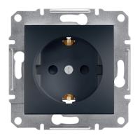 Розетка с заземлением и защитными шторками Schneider Electric Asfora Антрацит EPH2900271
