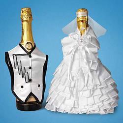 Украшения для свадебного шампанского
