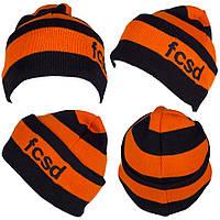 Футбольная шапка, оранжево-черная,  ф5126