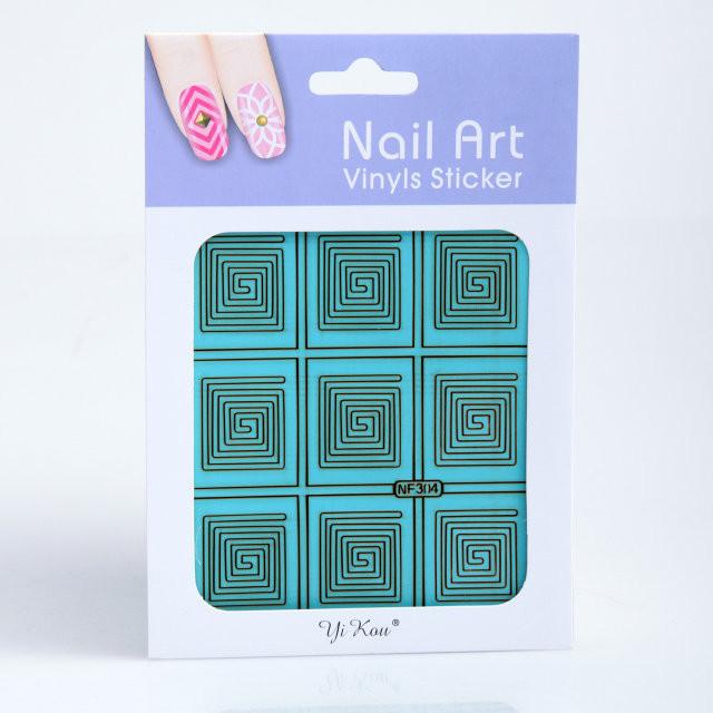 Трафарет для дизайна ногтей на зеленой основе,в ассортименте,12 шт