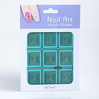 Трафарет для дизайна ногтей на зеленой основе,в ассортименте,12 шт, фото 1