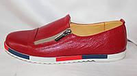 Красные молодежные женские весенние туфли-полуботинки из натуральной кожи