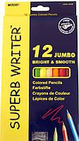 Карандаши цветные 12 цветов, Marco, Jumbo, Superb Write, 4400-12CB, 245257