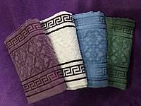 Лицевое махровое полотенце Велюровое Версаче с белым. в уп. 6 шт. Размер 50х90 - хлопок с велюром