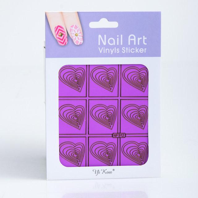 Трафарет для дизайна ногтей на фиолетовой основе,в ассортименте,12 шт