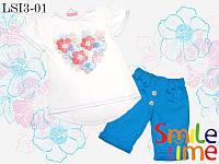 Костюм для девочки футболка и шорты размер 104,110,122,134 SmileTime Flower Heart шорты и футболка, бирюзовый