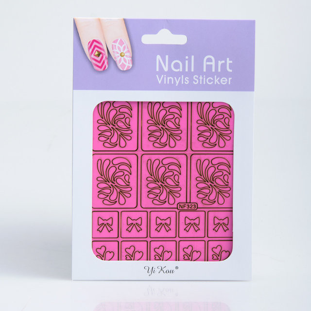 Трафарет для дизайна ногтей на розовой основе,в ассортименте,12 шт