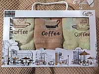 Набор Coffee 3 шт в уп. Размер 25х50 100% хлопок кухонное полотенце оптом большой опт самая дешевая цена 7км О