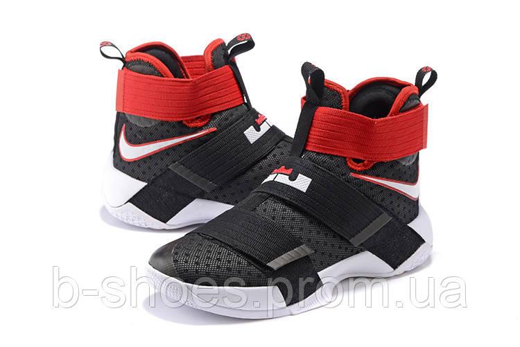 Детские баскетбольные кроссовки Nike LeBron Zoom Soldier 10 (Black/Red)