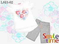 Летний костюм футболка и шорты SmileTime для девочки Flower Heart меланж серый