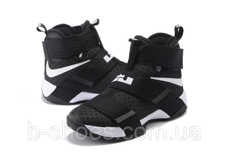 Детские баскетбольные кроссовки Nike LeBron Zoom Soldier 10 (Black/White)