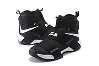 Детские баскетбольные кроссовки Nike LeBron Zoom Soldier 10 (Black/White), фото 1