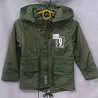 Куртка парка  демисезонная для мальчиков 6-9 лет,зеленая