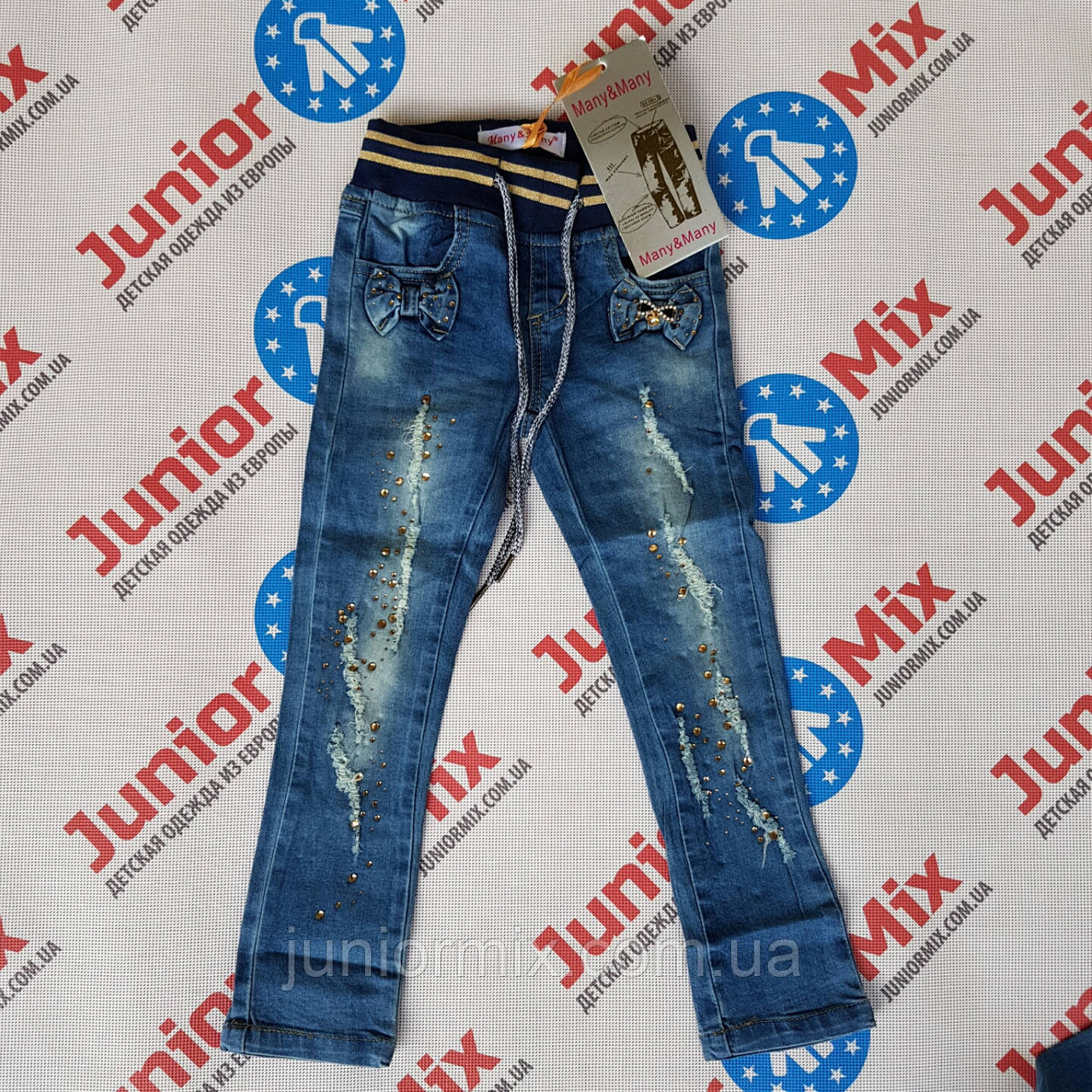Джинсовые детские брюки на девочку Many& Many