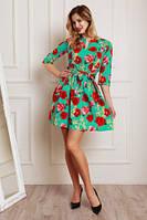 Стрейчевых бирюзовое платье из джинсовой ткани с цветочным принтом