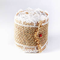 Лента из мешковины с кружевом, 5 см, длина 2 м