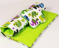 Комплект в детскую коляску BabySoon Слоники на салатовом одеяло 65 х 75 см подушка 22 х 26 см (104), фото 1
