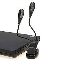 Светодиодный фонарь для чтения книг, гибкие ножки, 2 оловы, работает от батареек