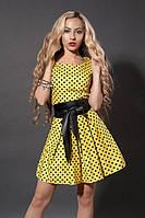 Женское платье Мелисса летнее в горошек, стильное  размеров  44, 46, 48 желтого цвета