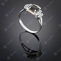 Серебряное кольцо с раухтопазом и фианитами. Артикул П-400