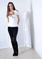 """Жіноча футболка вишиванка біла """"Степові барви"""""""