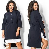 Женское асимметричное платье-рубашка темно-синего цвета. Модель 11623.