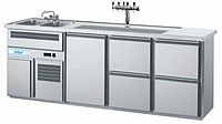 Барный холодильный стол с мойкой (две чаши),  краном,  1 дверкой и 4 ящика