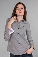Рубашка женская (реплика) Polo ralph lauren серого цвета