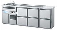 Барный холодильный стол с мойкой (две чаши),  краном,  выдвижных 6 ящиков