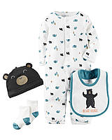"""Комплект одежды для мальчика с шапочкой и носочками 4в1 Carters """"Мишутка"""" 3М, фото 1"""