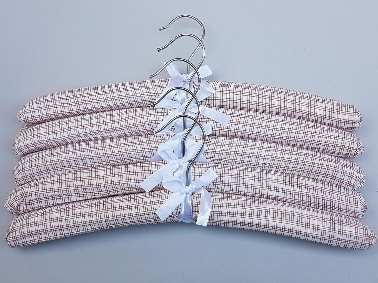 Плечики вешалки  мягкие тканевые для деликатных вещей квадрат коричневого цвета, длина 38 см,в упаковке 5 штук