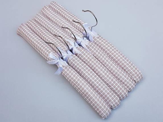 Плечики вешалки  мягкие тканевые для деликатных вещей квадрат коричневого цвета, длина 38 см,в упаковке 5 штук, фото 2
