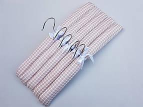Плечики вешалки  мягкие тканевые для деликатных вещей квадрат коричневого цвета, длина 38 см,в упаковке 5 штук, фото 3