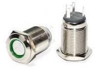 Кнопка металлическая с фиксацией Аско TYJ 16-361 1NO+1NC  с подсветкой зеленая