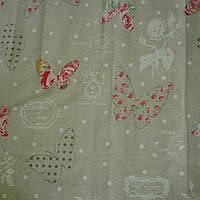Бязь с бабочками на бежевом фоне в горошек в стиле Прованс