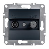 Розетка телевизионная + спутник конечная Schneider Electric Asfora Антрацит EPH3400171