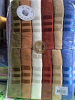 Лицевое махровое полотенце Полосы в ассорт. Турция 12 шт в уп. Размер 0,5х0,9 Лицевое 100% хлопок