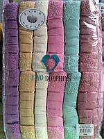 Лицевое махровое полотенце Пастель Турция. 6 шт в уп. Размер 0,5х0,9 - 100% хлопок