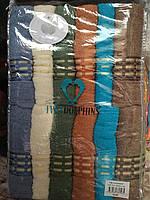 Лицевое махровое полотенце Штрихи в ассорт. Турция дельфин 12 шт в уп. Размер 0,5х0,9 - 100% хлопок