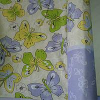 Бязь с разноцветными бабочками на молочном фоне, фото 1