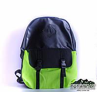 Модный городской рюкзак черный с салатовым, фото 1