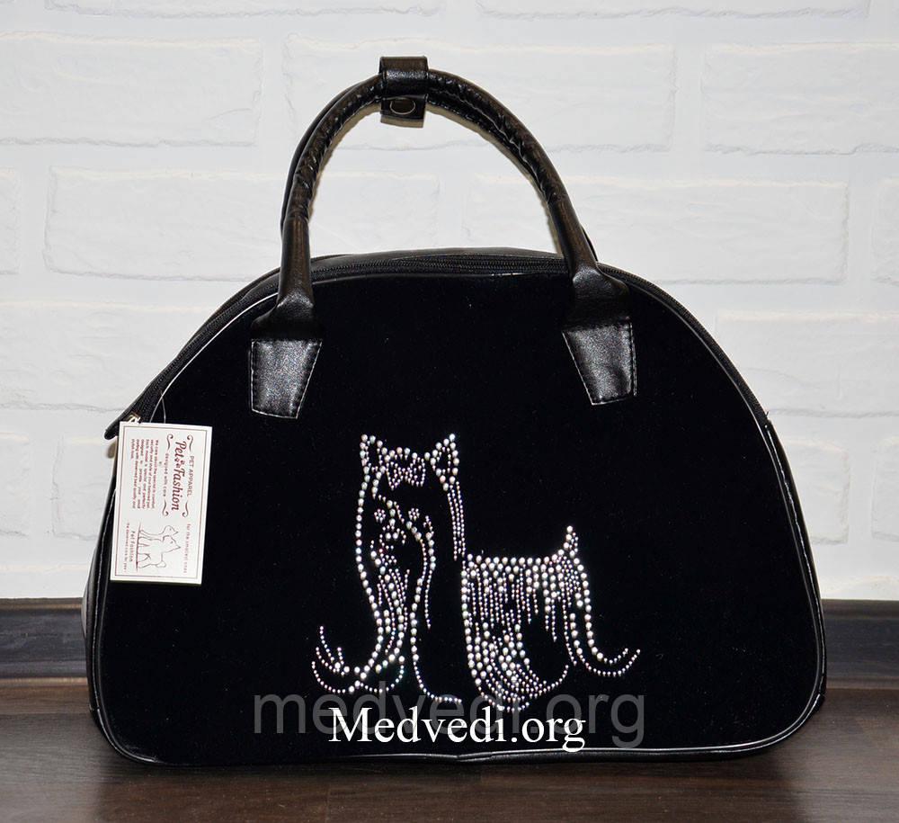 Черная сумка-переноска для собак со стразами