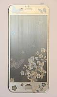 Защитное стекло с рисунком Butterfly iPhone 5/5s/SE silver