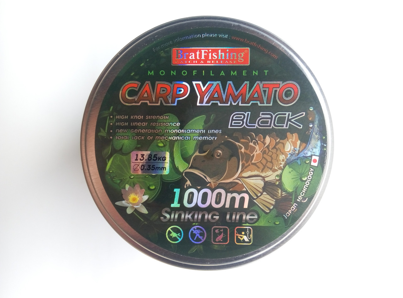 Леска Bratfishing Carp Yamato Black 1000 м 0,30мм